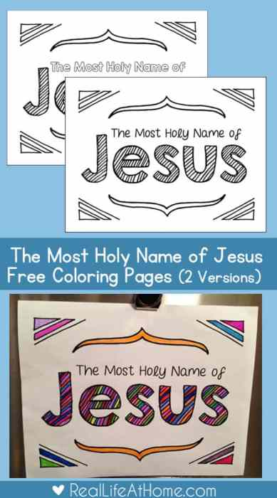 Celebrate Jesus with this free Most Holy Name of Jesus Coloring Page set (offering two versions) | Real Life at Home