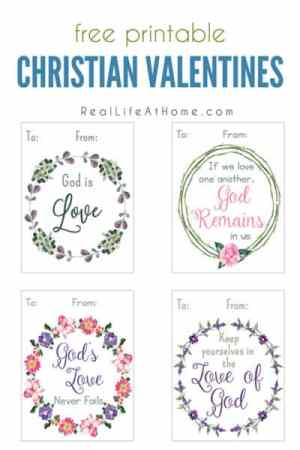 Free printable Christian valentine cards for kids and families featuring decorative wreaths and Scriptures