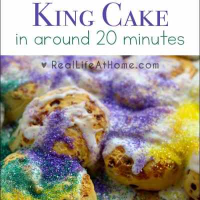 Need a Mardi Gras King Cake but short on time? This recipe, perfect for Fat Tuesday, is a super easy King Cake recipe to make in around 20 minutes. | Real Life at Home