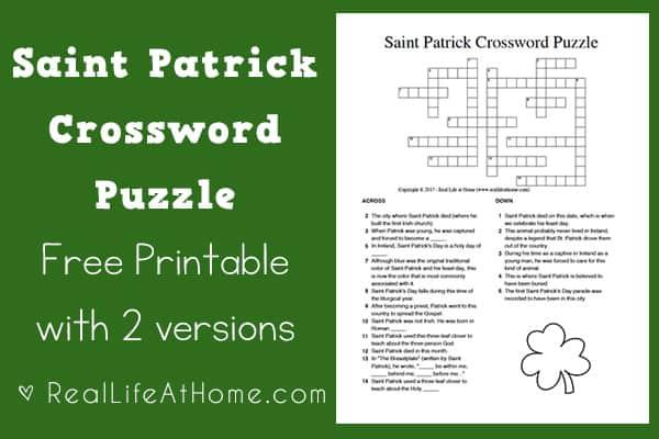 Saint Patrick Crossword Puzzle Printable {2 Versions}   Real Life at Home
