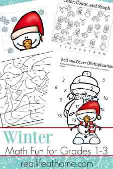 In the cold of winter, it's fun to make some changes to your regular routines. Make math fun with this free printable packet of winter math worksheets for 1st - 3rd grade | Real Life at Home