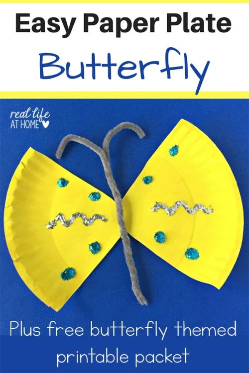 Easy Paper Plate Butterfly Craft {Plus a Free to Download Butterfly Printables Packet!} | Real Life at Home