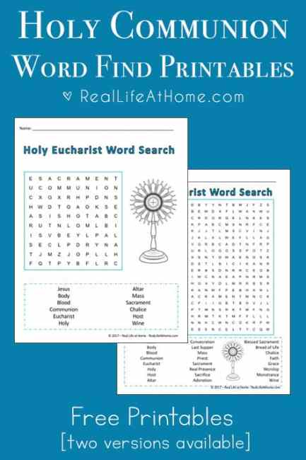 Holy Communion Word Search Printable {Perfect for First Communion ...