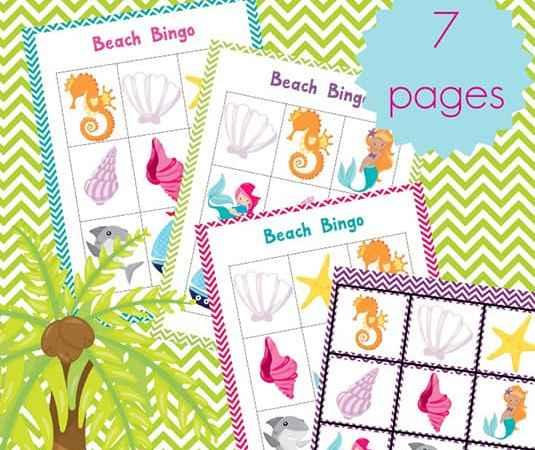 Fun Summer Games: Printable Beach Bingo Cards