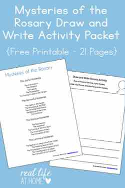 A great ongoing activity to help Catholic kids become more familiar with the Rosary, this Mysteries of the Rosary Draw and Write Activity Printables Packet is a free download!   Real Life at Home