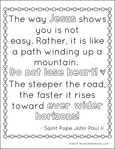 Saint Pope John Paul II Quote Coloring Page