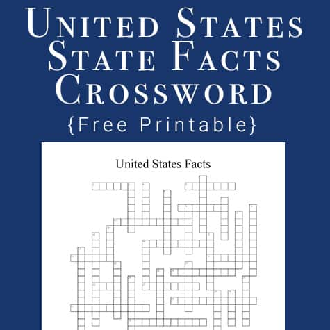 United States State Facts Crossword Puzzle Printable
