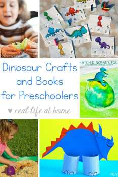 Looking for easy dinosaur crafts for preschoolers? Need some dinosaur books? Here is an extensive list of dinosaur crafts, dinosaur books, and dinosaur printables for preschool and kindergarten children. | Real Life at Home