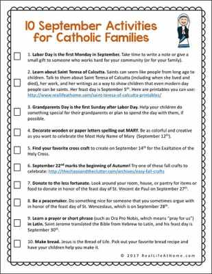 September Activities for Catholic Families Free Printable