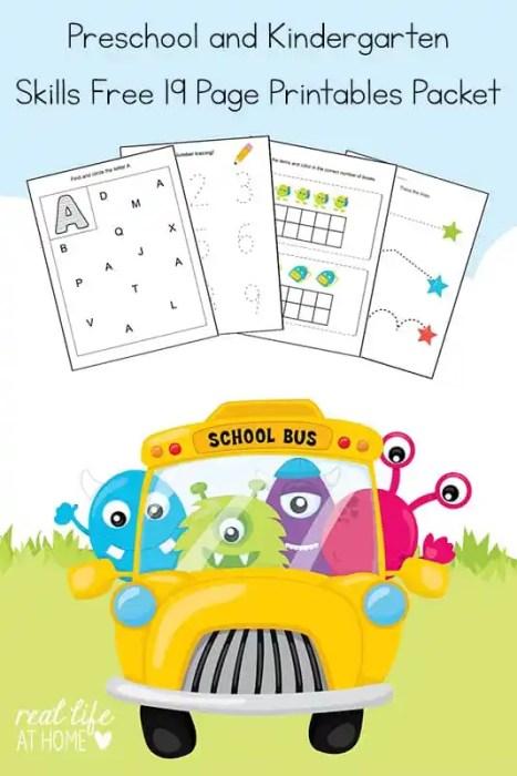 Working on basic skills for kindergarten and preschool? Grab this free 19 page Kindergarten and Preschool Skills Worksheets Printable Packet. | Real Life at Home #preschool #kindergarten #printables