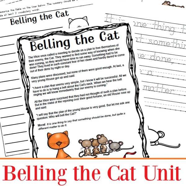 Aesop Fables Worksheets Packet: Belling the Cat Printables