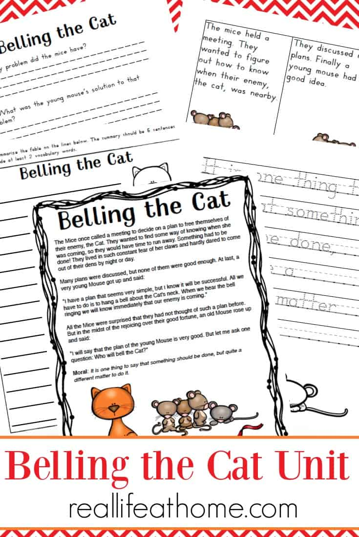 graphic relating to Aesop's Fables Printable named Aesop Fables Worksheets Packet: Belling the Cat Printables
