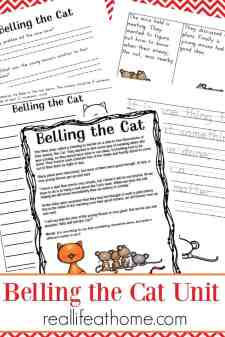 Aesop's Fables Worksheet Set - Belling the Cat printables {free} | Real Life at Home