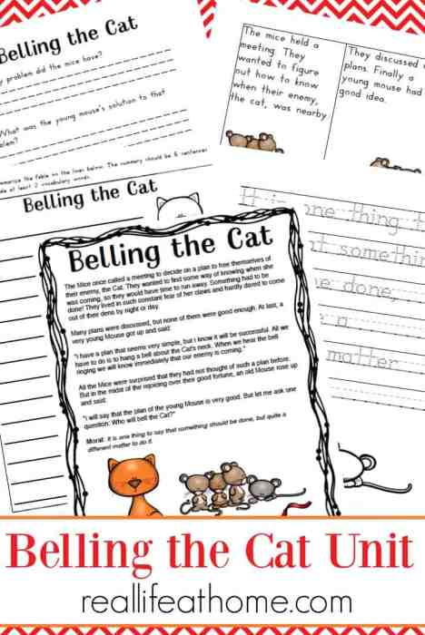 Aesop's Fables Worksheet Set - Belling the Cat printables {free} for preschool and elementary students | Real Life at Home