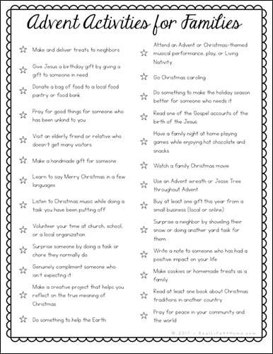 Need something to help give your family a more meaningful and mindful Advent? This free Advent Activities printable is full of family Advent activity ideas. #Advent   Real Life at Home