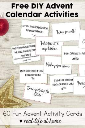 Free printable set of 60+ Advent activity cards for your family. These are also perfect as DIY Advent calendar activities. #Advent #AdventActivities #AdventCalendar | Real Life at Home