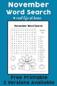 This free November Word Search Printable for Kids is perfect for a class party, Thanksgiving party, or fall party. This free instant download word search puzzle features November terms and some coloring areas. | Real Life at Home