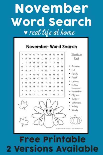 This Free November Word Search Printable For Kids Is Perfect A Class Party Thanksgiving