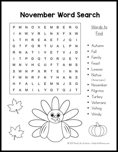 Free Printable: November Word Search Printable Puzzle for Kids