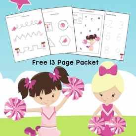 Cheerleader Printables: Cheerleading Worksheets for Preschool and Kindergarten