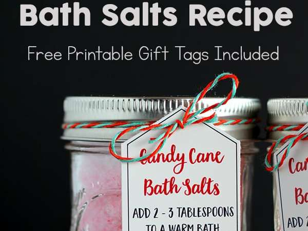 Easy Peppermint Bath Salts Recipe with Free Printable Gift Tags
