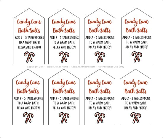 Homemade peppermint bath salts are a great DIY gift for the holidays! Here's a recipe for candy cane bath salts plus a free printable set of gift tags. #HomemadeGifts #PeppermintBathSalts #PrintableGiftTags | Real Life at Home