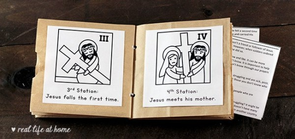 Paper Bag Album with Stations of the Cross Printables for Kids including Prayers and Reflections | Real Life at Home