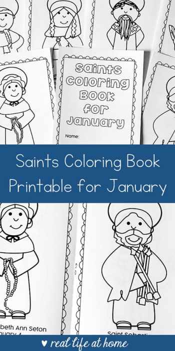 Book Cover Printable January : January saints printable coloring book for