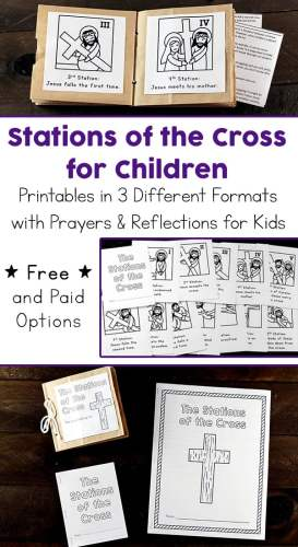 Printable Stations of the Cross for Children including Three Different Formats with Prayers and Reflections for Kids (Free and Paid Options Available) #CatholicPrintables #Lent #LentPrintables #StationsOfTheCross | Real Life at Home