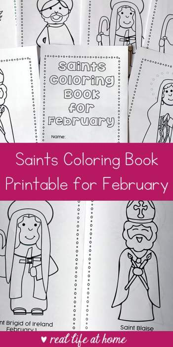 Looking for a seasonal saint activity to do with children? This free printable saints coloring book for February is a great Catholic coloring book for kids #CatholicPrintables #CatholicKids