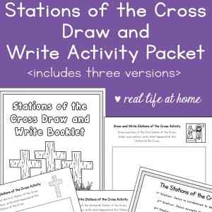 Draw and Write Stations of the Cross Activity: a printable Stations of the Cross for kids to experience this important prayer and meditation in a whole new way. This free 39-page Stations of the Cross printable comes with three versions to best suit your needs.