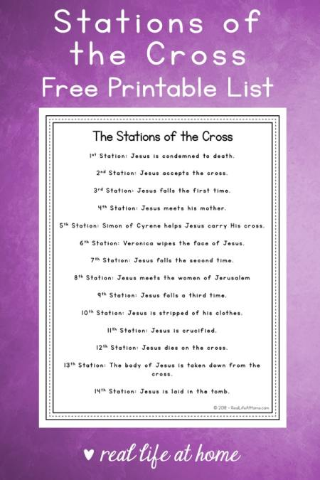14 Stations of the Cross List - Free Printable