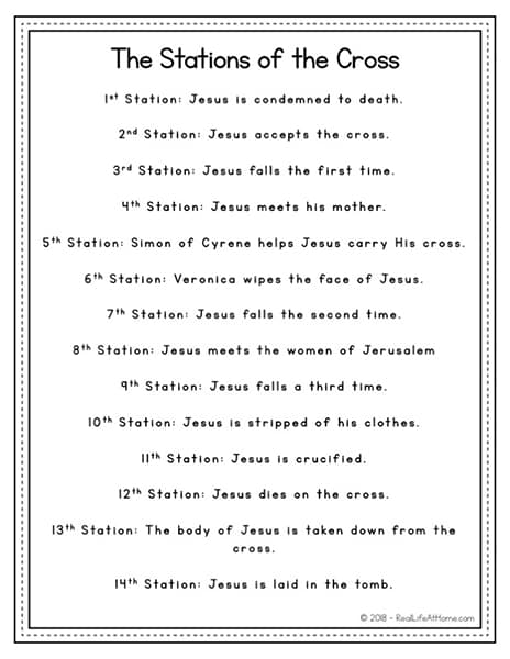 image about Stations of the Cross Printable identified as 14 Stations of the Cross Record - No cost Easy Lenten