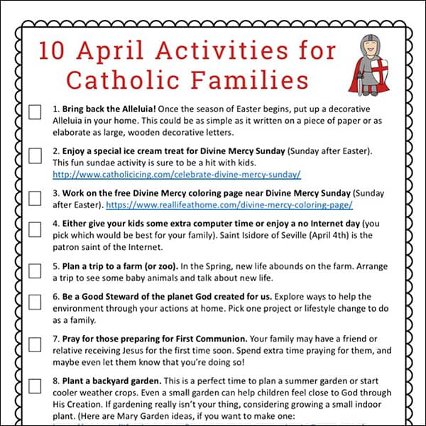 10 April Activities for Catholic Families Free Printable