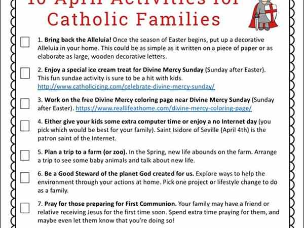 10 April Activities for Catholic Families Printable