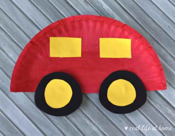 Paper plate car craft for kids from Real Life at Home