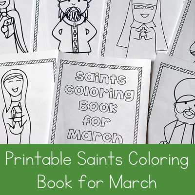 Looking for a fun seasonal saint activity to do with children? This free printable saints coloring book for March is a great Catholic coloring book for kids