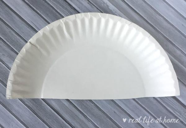 Step one of paper plate car craft | Real Life at Home