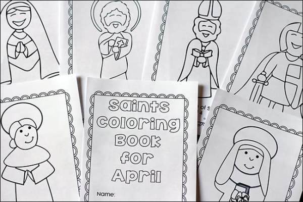 Pages from the April Saints Coloring Book | Real Life at Home