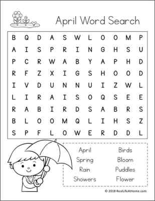 April Word Search Printable for Kids (Easier Version) | Real Life at Home
