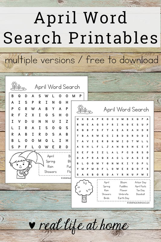 image relating to Free Printable Spring Word Search identify Free of charge Printable: April Phrase Seem Printable Puzzle for Young children