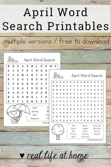 Free April Word Search Printable for Kids - perfect for class parties, spring parties, or just a fun time filler for early finishers of work. This printable includes April search terms and phrases.