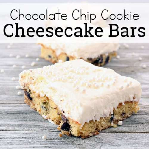 Check out this Chocolate Chip Cookie Cheesecake Bars recipe! With these Chocolate Chip Cookie Cheesecake Bars, you get all the deliciousness of that soft, whipped cheesecake along with the comfort of chocolate chip cookies. What a great combination!