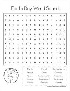 Earth Day Printable Word Search from Real Life at Home (Easier Version Also Available)