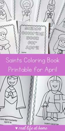 Looking for a fun seasonal saint activity to do with children? This free printable saints coloring book for April is a great Catholic coloring book for kids