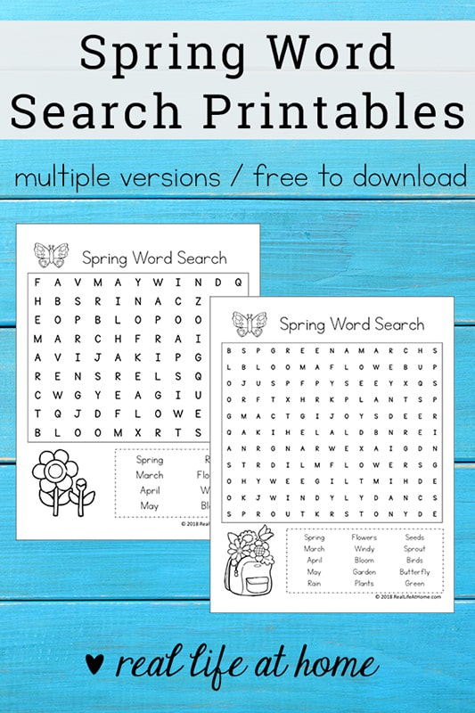 Spring Word Search Printable Pdf - Worksheet & Coloring Pages