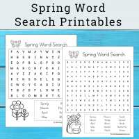 Spring Word Search Printable Set for Kids