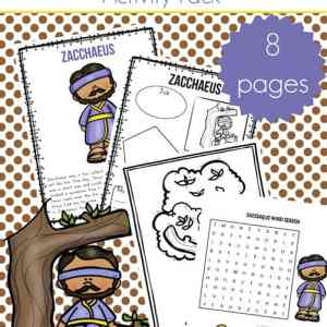 Zacchaeus Printables Packet including Zaccheus Story for Kids, Zaccheus Coloring Page, and More   Real Life at Home