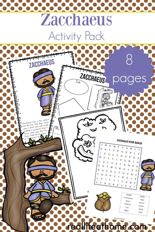 Zacchaeus Printables Packet including Zacchaeus Story for Kids, Zacchaeus Coloring Page, and More | Real Life at Home