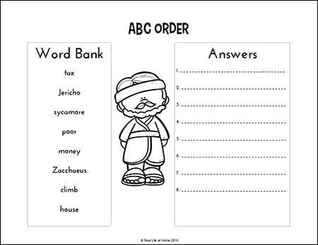 Zacchaeus Alphabetical Order Page from Zacchaeus Printables Packet on Real Life at Home